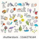 hand drawn ink and watercolor... | Shutterstock .eps vector #1166276164