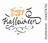 happy halloween inscription.... | Shutterstock .eps vector #1166276761