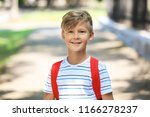 portrait of cute schoolboy... | Shutterstock . vector #1166278237