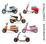 set of colorful moped in flat...   Shutterstock .eps vector #1166279614