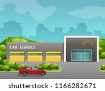 the building of auto repair.... | Shutterstock .eps vector #1166282671