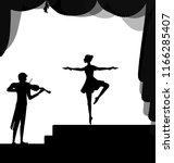melody for dancing  balerina... | Shutterstock .eps vector #1166285407