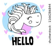 unicorn cute head and ink ... | Shutterstock .eps vector #1166286844