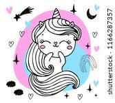 unicorn cute character  for ... | Shutterstock .eps vector #1166287357