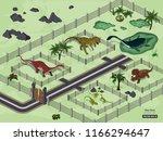dinosaur park in isometric... | Shutterstock .eps vector #1166294647