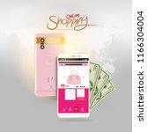 shopping online on website or... | Shutterstock .eps vector #1166304004