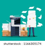 businessman in pile of papers.... | Shutterstock .eps vector #1166305174