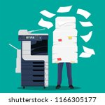 businessman in pile of papers.... | Shutterstock .eps vector #1166305177