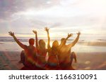 group of friends  youth sitting ... | Shutterstock . vector #1166310091