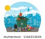 plastic garbage bin full of... | Shutterstock .eps vector #1166313634