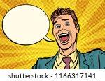 joyful businessman comic bubble.... | Shutterstock .eps vector #1166317141