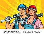 strong workers  man and woman.... | Shutterstock .eps vector #1166317537