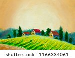 rural landscape with houses ... | Shutterstock . vector #1166334061