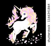 unicorn with stars and glitter... | Shutterstock .eps vector #1166341864
