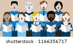 diverse group of adults singing ... | Shutterstock .eps vector #1166356717