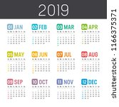 colorful year 2019 calendar... | Shutterstock .eps vector #1166375371