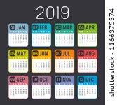 colorful year 2019 calendar...   Shutterstock .eps vector #1166375374