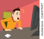 surprised man reading on... | Shutterstock .eps vector #1166379697