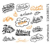 set autumn logotypes. vector... | Shutterstock .eps vector #1166380171