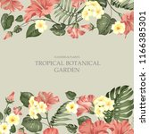 summer vacation card. tropical... | Shutterstock .eps vector #1166385301