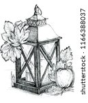 lantern with a candle ink drawn ... | Shutterstock . vector #1166388037