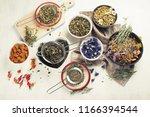 various herbal tea. top view.   ... | Shutterstock . vector #1166394544