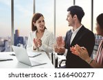 business people clapping hands... | Shutterstock . vector #1166400277