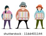vector of man and women selling ... | Shutterstock .eps vector #1166401144