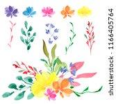 watercolor flower arrangements  ... | Shutterstock . vector #1166405764