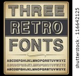 vector set  three vintage fonts | Shutterstock .eps vector #116642125