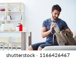 young man getting ready for gym ... | Shutterstock . vector #1166426467