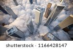 skyscrapers above the clouds at ... | Shutterstock . vector #1166428147