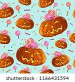 halloween seamless pumpkins... | Shutterstock .eps vector #1166431594