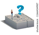 puzzled man standing at maze or ... | Shutterstock .eps vector #1166434987
