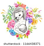 mother breast feeding and cute... | Shutterstock . vector #1166438371