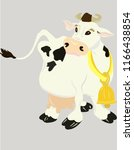 cow with bell collar on the... | Shutterstock .eps vector #1166438854