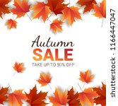 autumn leaves. bright colourful ... | Shutterstock .eps vector #1166447047