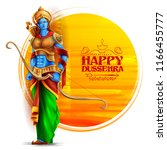 illustration of lord rama in... | Shutterstock .eps vector #1166455777