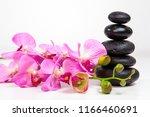 flower and spa stones on white... | Shutterstock . vector #1166460691
