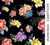 watercolor colorful bouquet... | Shutterstock . vector #1166471194