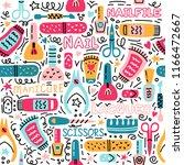 manicure vector seamless...   Shutterstock .eps vector #1166472667