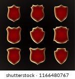 gold shield shape icons set. 3d ... | Shutterstock .eps vector #1166480767