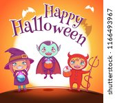 poster with kids in costumes of ... | Shutterstock .eps vector #1166493967