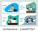 set of landing page template... | Shutterstock .eps vector #1166497567