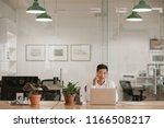 young asian businessman sitting ... | Shutterstock . vector #1166508217