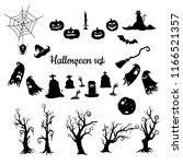 halloween vector silhouettes set | Shutterstock .eps vector #1166521357