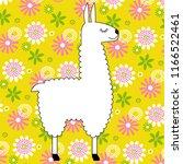 cute white llama on yellow... | Shutterstock .eps vector #1166522461
