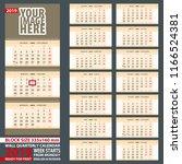 2019 calendar  design in yellow ... | Shutterstock .eps vector #1166524381