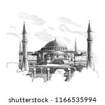 and draw sketch hagia sophia ... | Shutterstock . vector #1166535994