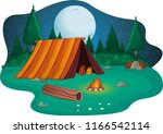 camping with campfire and tent... | Shutterstock .eps vector #1166542114